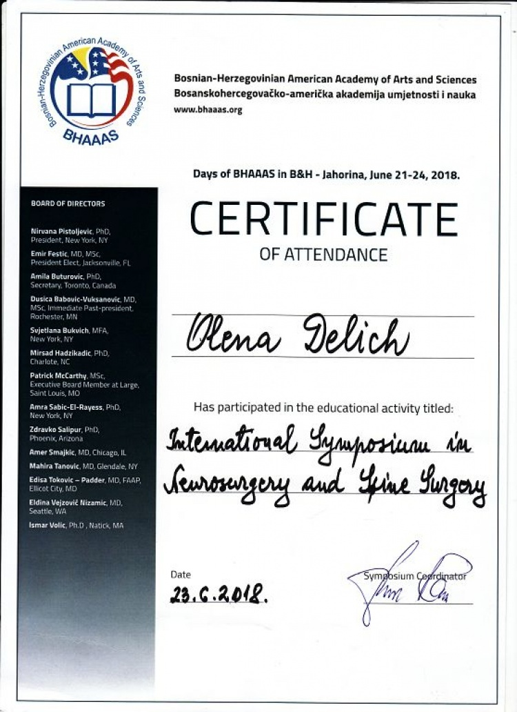 Student of School of Medicine successfully completed her internship program on neurosurgical department in Bosnia and Herzegovina