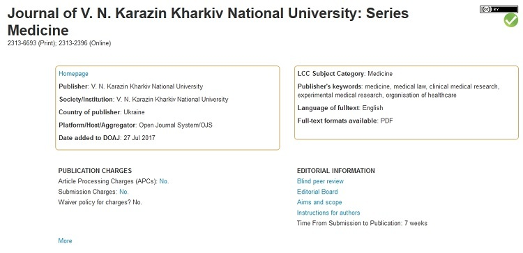 The Journal of V. N. Karazin Kharkiv National University, series Medicine was accepted to Directory of Open Access Journals (DOAJ)